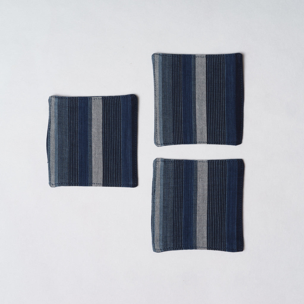 Marukawa Shoten Cotton coaster in blue indigo vertical stripes (3 pack) - Matsusaka Momen