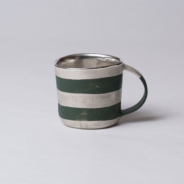 Yoshimitsu Nakasono, Mug with silver & dark green stripes