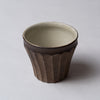 Yuko Matsuzuka, Cup with longitudinal flutes, brown glazed