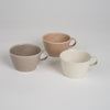 Mug in white, gray and sienna glaze