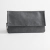 Leather clutch bag - fog gray, front