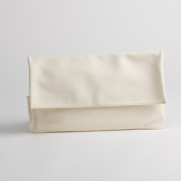 Clutch leather bag in white, front