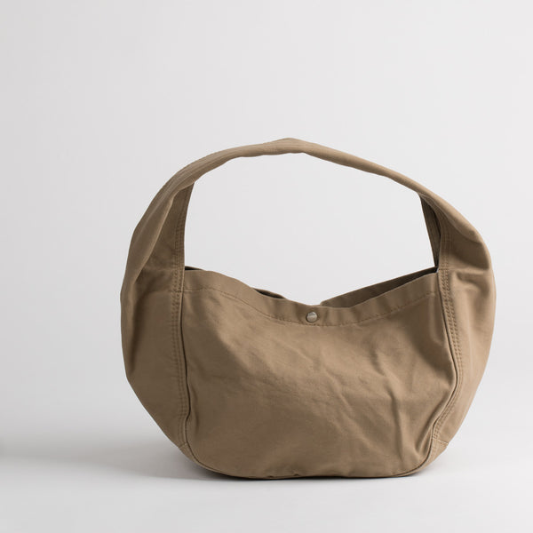 Cotton shoulder bag in light brown, front