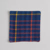 Hand woven cotton coaster - blue & salmon, front