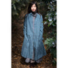 Long sleeved dress in smoke blue European linen with round collar