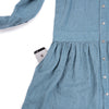 Long sleeved dress in smoke blue European linen with round collar, pocket 2 detail