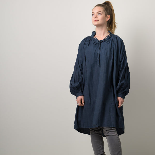 Organic cotton gathered tunic dyed naturally with indigo & sappanwood