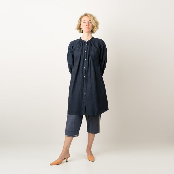 Linen shirt dress dyed naturally with Indigo & Japanese sumac