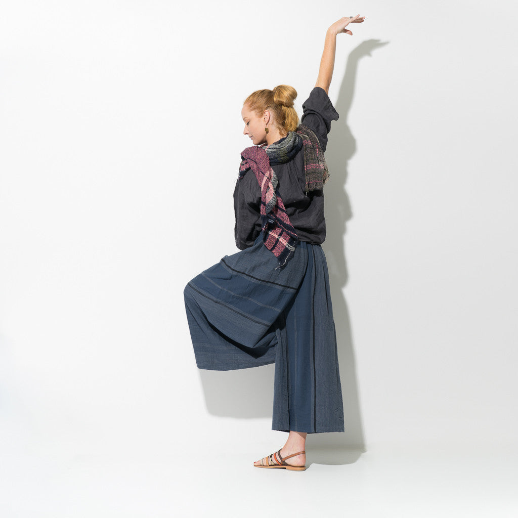 """Only One"" Wide Pants Long in cotton blue"