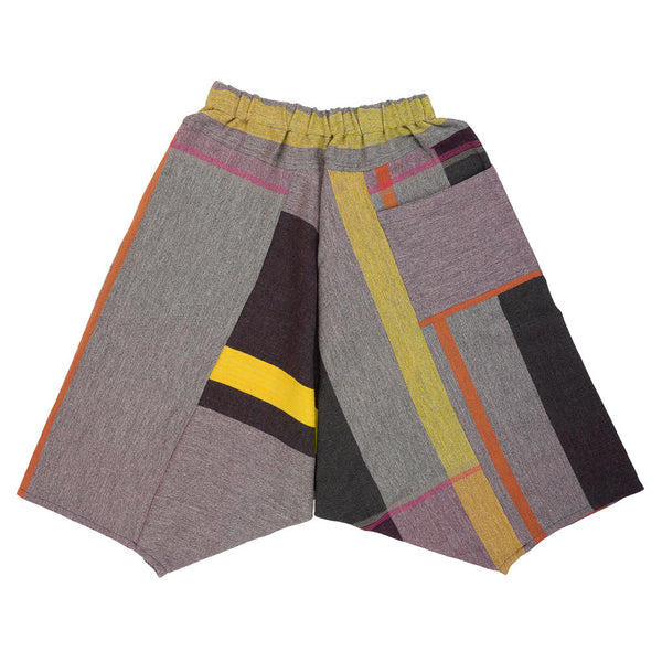 """Only One"" Tarun pants (divided skirt) short in wool & cotton - grey & yellow, normal 1"