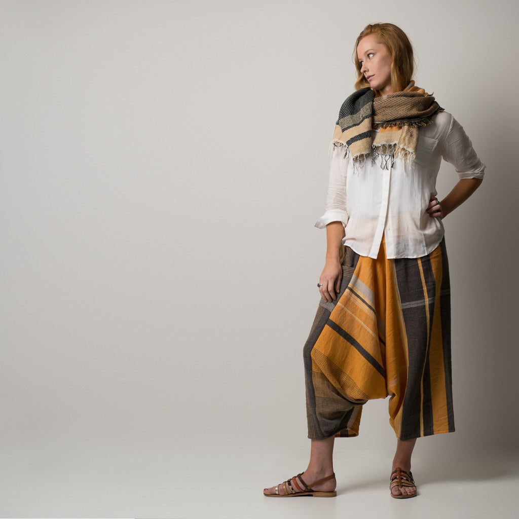 """Only One"" Tarun pants (divided skirt) long in wool & cotton - orange & brown"