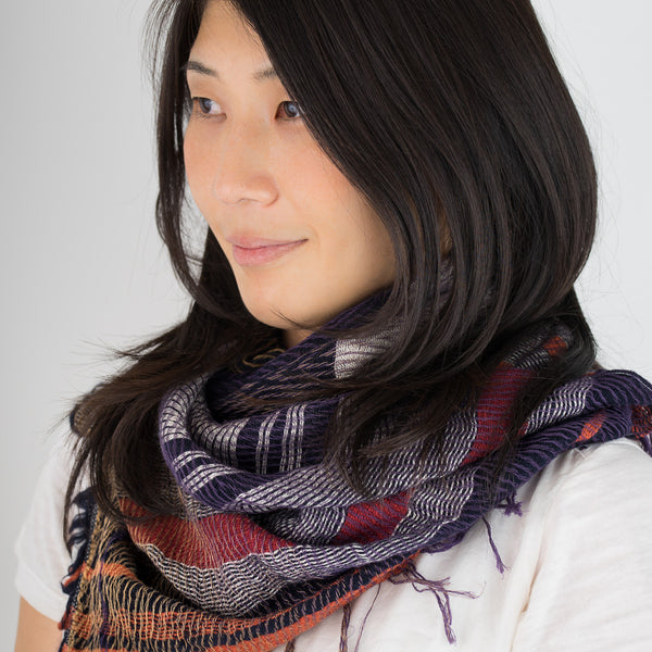 "Scarf ""Roots Shawl"" in wool & cotton - purple & ochre"
