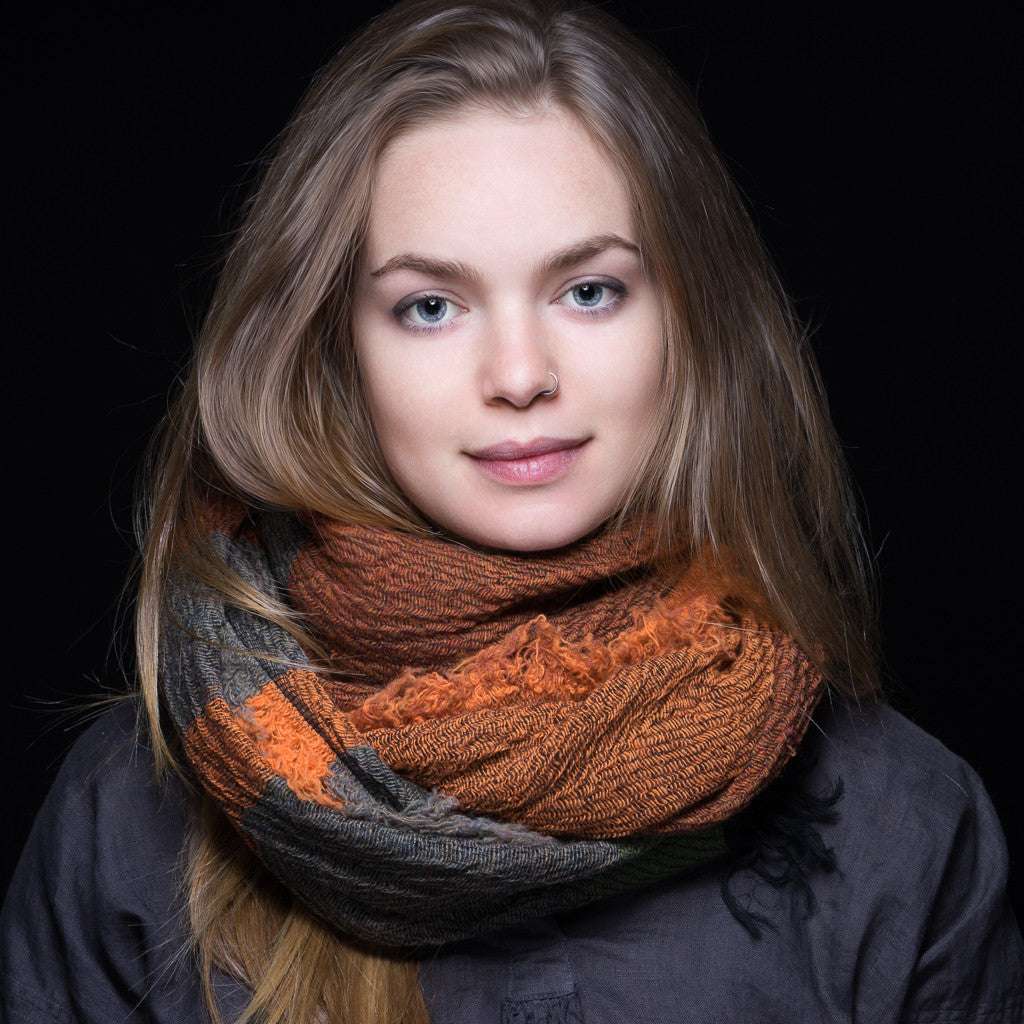"Scarf ""Roots Shawl"" in wool & cotton - orange & green"