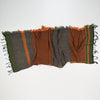 "Scarf ""Roots Shawl"" in wool & cotton - orange & green, crumpled"