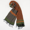 "Scarf ""Roots Shawl"" in wool & cotton - orange & green, rolled"