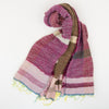 "Scarf ""Roots Shawl"" in wool & cotton - pink & chocolate brown, rolled"