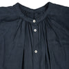 Linen shirt dress dyed naturally with Indigo & Japanese sumac, neckline
