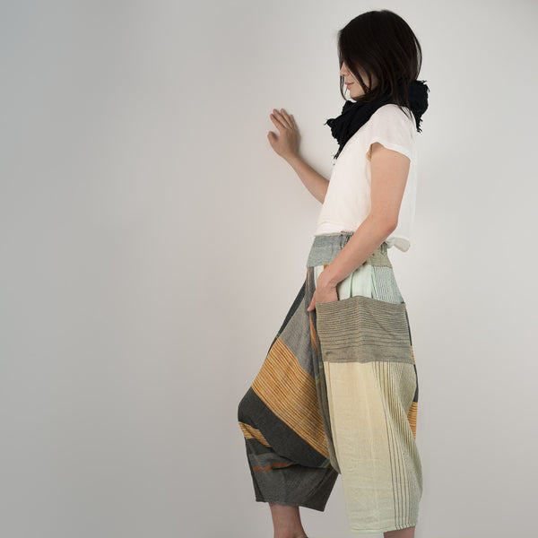 """Only One"" Tarun pants (divided skirt) long in wool & cotton - light orange"