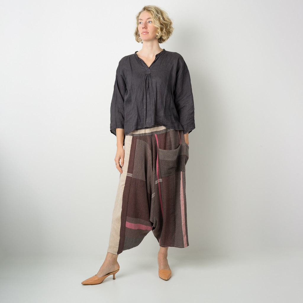"""Only One"" Tarun pants (divided skirt) long in wool & cotton - brown & pink"