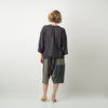"""Only One"" Tarun pants (divided skirt) short in wool & cotton - red & blue, back"