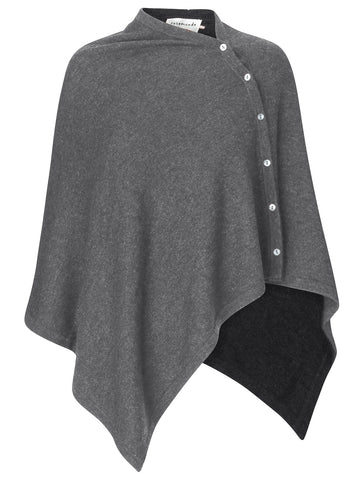 Uld/cashmere poncho, basic Medium grey/mel OZ