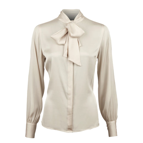 Stenströms silk blouse with bow beige AW/19