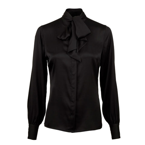 Stenströms silk blouse with bow basic Black