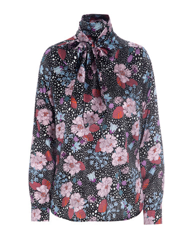 Morgan silk blouse with bow AW/20, Flowerfield