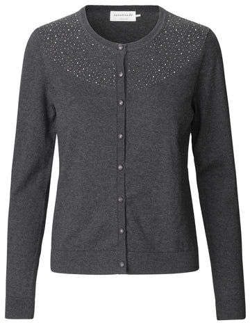 Rosemunde cardigan m/sten PS/20 Dark grey