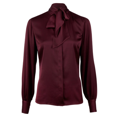 Stenströms silk blouse basic with bow, Bourgogne