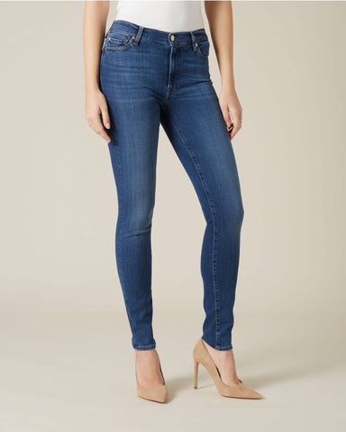 7 high waist skinny Slim illusion jeans, basic, mid blue