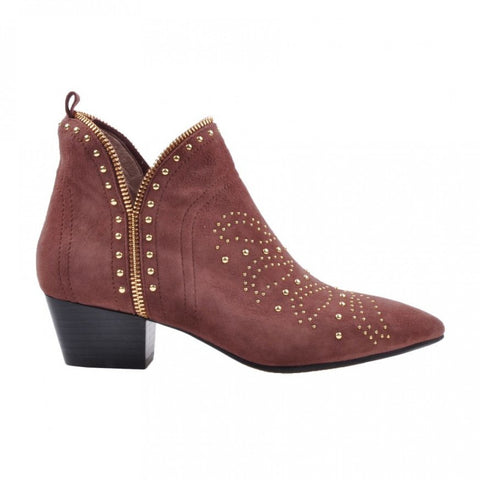 Mathilde Suede boots W/studs Earth red AW/19