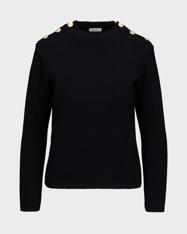 Stenströms crew neck W/shoulder buttons, aw/20 Black UDSALG