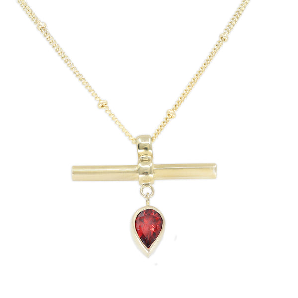 The Bar Gold Garnet Necklace