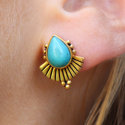 Cleopatra Earring Turquoise Gold