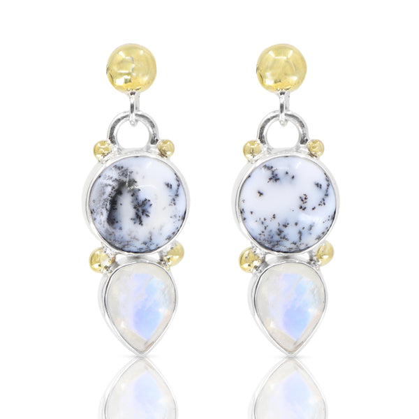 Delphi Dendrite and Moonstone Earrings