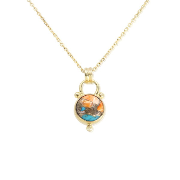 Delphi Oyster Turquoise Gold Necklace
