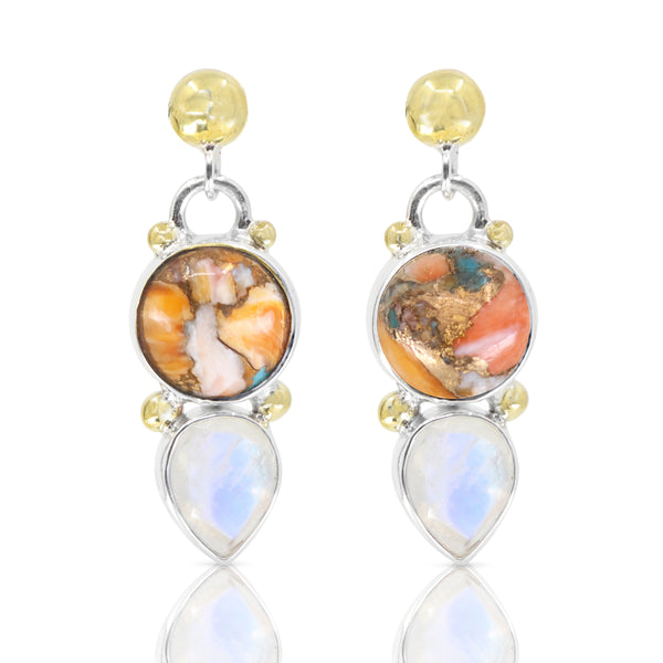 Delphi Oyster Turquoise and Moonstone Earrings