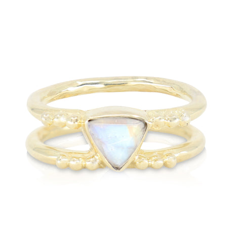 Delta Moonstone Gold Ring
