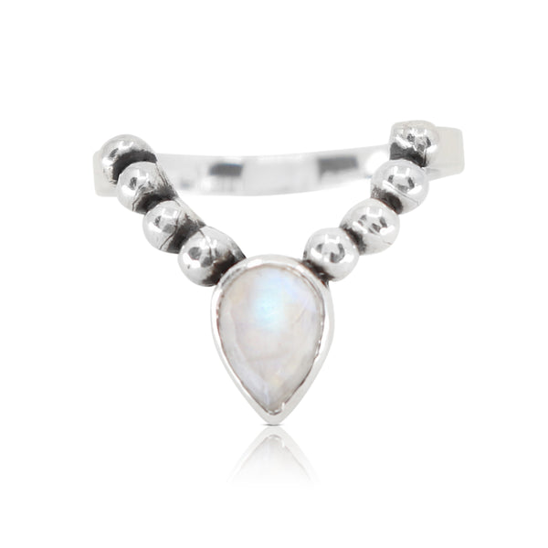 Dainty Moonstone Crescent