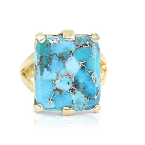 Etheria Copper Turquoise Gold Ring