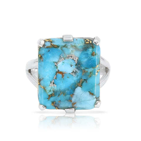 Etheria Copper Turquoise Silver Ring
