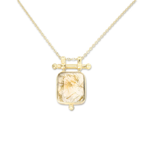 Etheria Golden Rutilated Quartz Gold Necklace