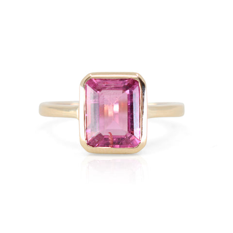 PINK TOURMALINE BAGUETTE 14K YELLOW GOLD