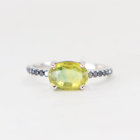 Yellow Sapphire and black diamond