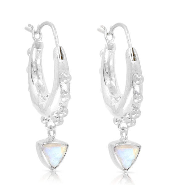 Gypsea Trillion Moonstone Silver Hoops