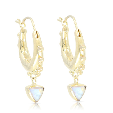 Gypsea Trillion Moonstone Gold Hoops