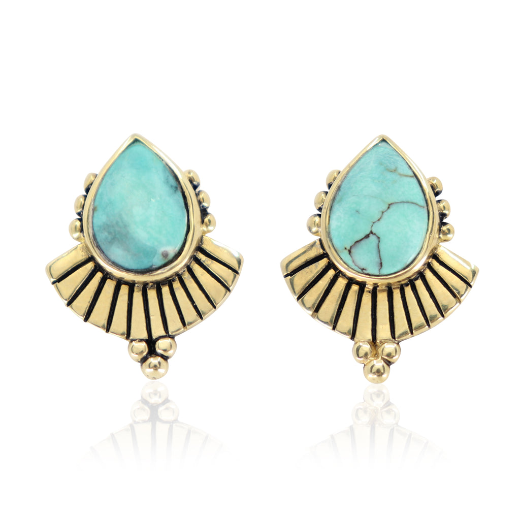 Cleopatra Turquoise Gold Earrings
