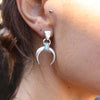 Lunar Crescent Moonstone Silver Earrings