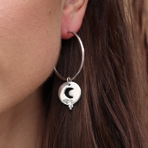 Night skies hoops sterling silver